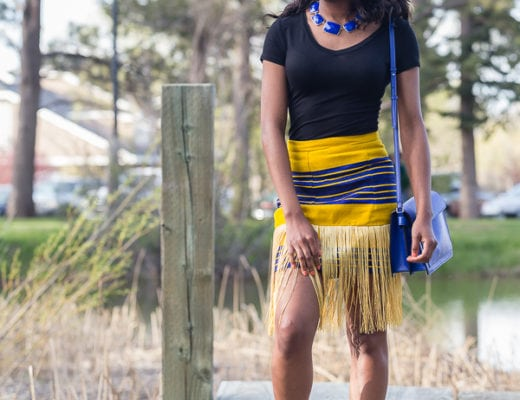 How to style a traditional Aso oke fringe skirt for a casual look
