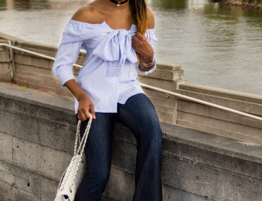 A super cute summer outfit wearing a wide leg flare denim and a stylish off the shoulder faux sleeve top. Visit the blog for the complete look.