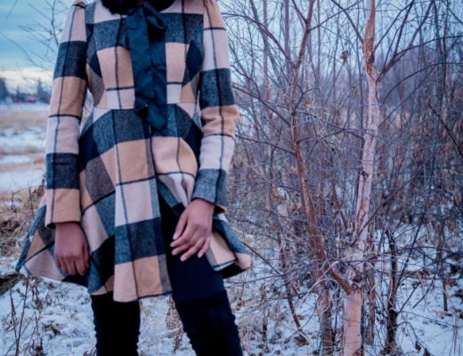 Fitted Pattern Coat + Thigh High Boots | Totally crushing over her plaid coat. The fact that she styled this street style look with a thigh high boots makes it perfect for the winter.