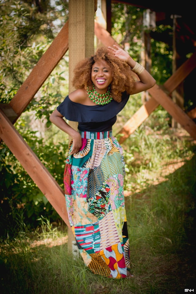 Girl gang African fashion! Love how she styled this ankara African print patchwork midi skirt. She wore this colorful piece so well! Summer style, dutch wax, kente, kitenge, dashiki, African styles, African prints, Nigerian style, Ghana fashion #ankara #africanprint