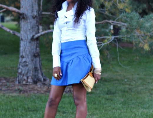 Asos blue skirt outfit