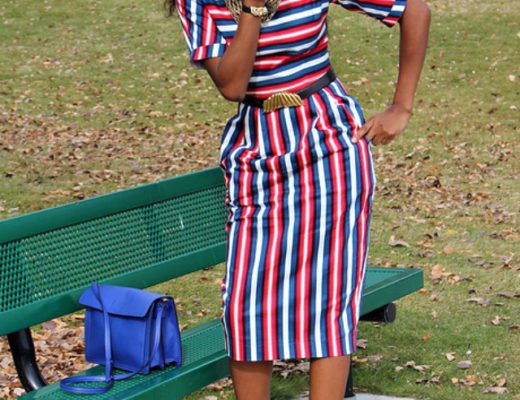 Striped peplum midi skirt