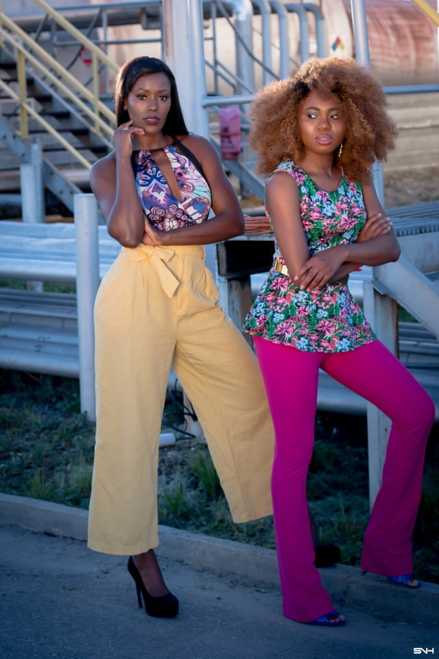 "Now, this is how you make a bold color statement! 🌈 Love how these two melanin beauties nailed their bold color looks. From deep rich pink to mustard yellow and bright blue. They kept their makeup and accessories to a minimum. The essence of ""let your outfit do the talking."" I would wear this outfit any day. Color Pop: How to rock bold colors this season. #ootd #melanin"