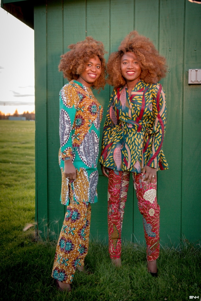 Fraternal Twins Rocking a Gorgeous African Print Two-Piece Set