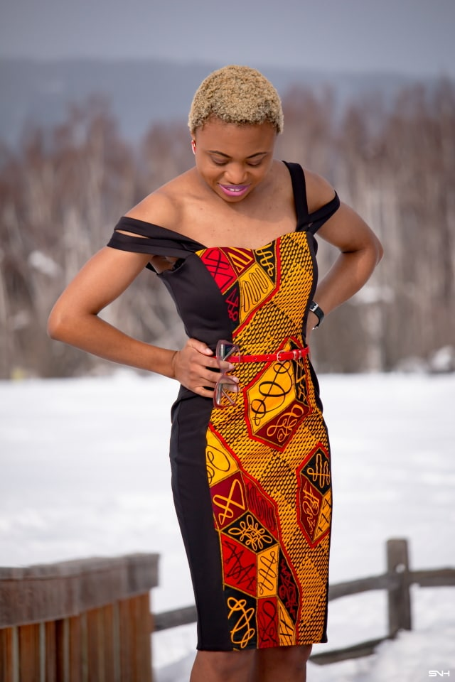 I'm quite obsessed with this African print off-shoulder dress. The stretchy fabric, multi-straps, and black tuxedo style creates a look that I love. The simple haircut, natural makeup, and clear sunnies is so clean and chic. This formal dress is perfect for any special occassion! #ankara #dashiki #kente