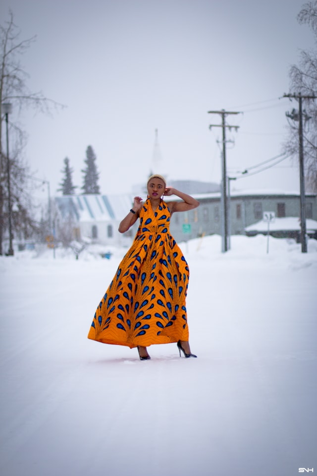 Wow! I need this ankara print dress! The rich colors of the orange and blue wax print fabric is a showstopper. I love that this 100% cotton African print dress can be worn in 6 different ways. The perfect dress for special events too. All about Ankara dresses, African prints, Nigerian fashion, African fashion, African print dresses, African dresses, Dashiki Dress, African clothing, African dress styles, African print dress, African attire