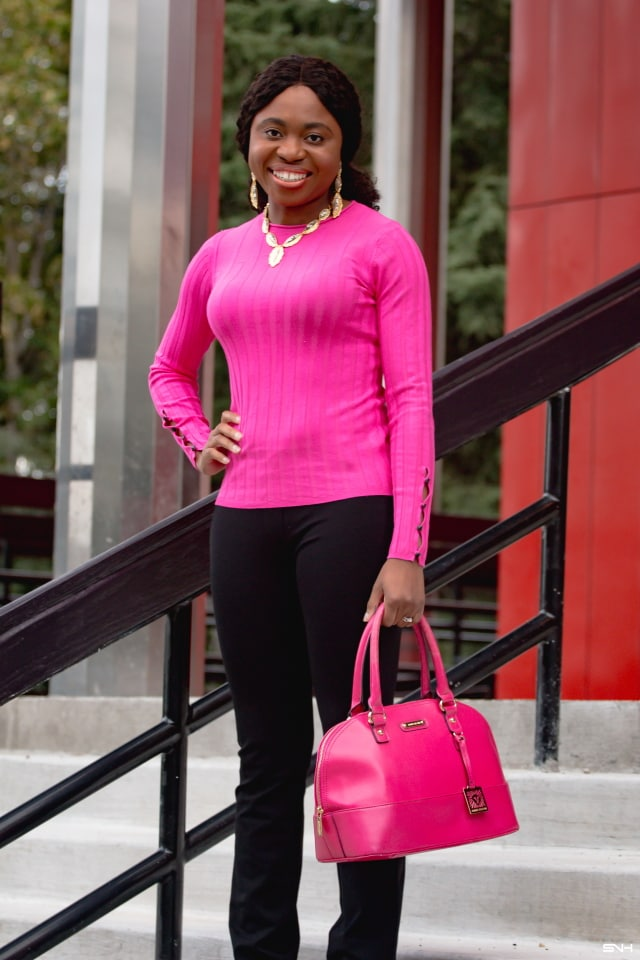 I would never have considered yoga pants as appropriate for work. Well, until I came across this popular Betabrand yoga pants. I fell for the hype and ordered not one but two pairs of the Betabrand dress pants yoga pants. Were the hypes and reviews a stretch? Click here to read my review and a complete pink sweater outfit styled with the pants. All about tuxedo pants, pink sweaters, fall fashion, spring fashion, ponte pants, black and pink outfit