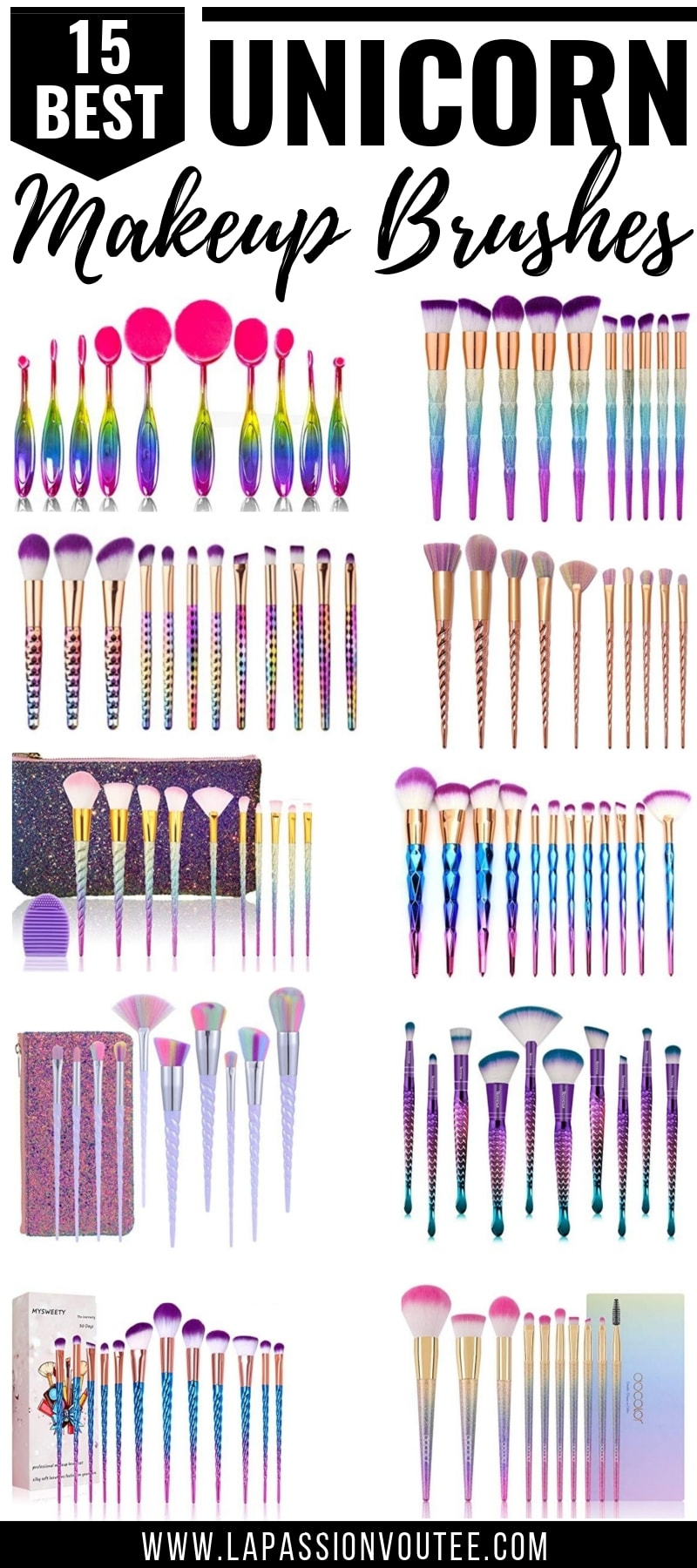 OMG, these are the absolute BEST unicorn makeup brushes on Amazon! Don't waste your money on expensive makeup brushes when you can get the same results with these top-rated unicorn brush sets! You have to check out this post now! makeup brushes guide, unicorn brushes, best makeup brushes, makeup brushes 101, makeup brush set