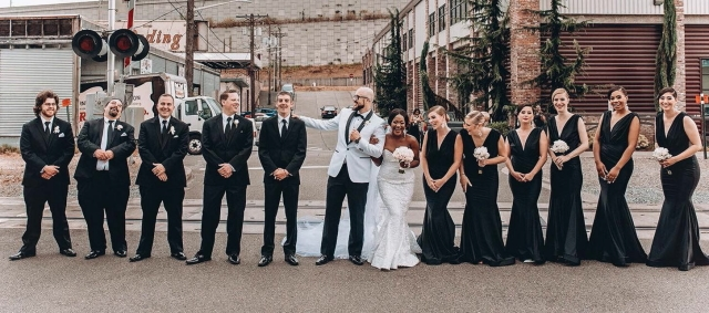 Frilancy and Michael Hoyle Black and White Outdoor Summer Wedding