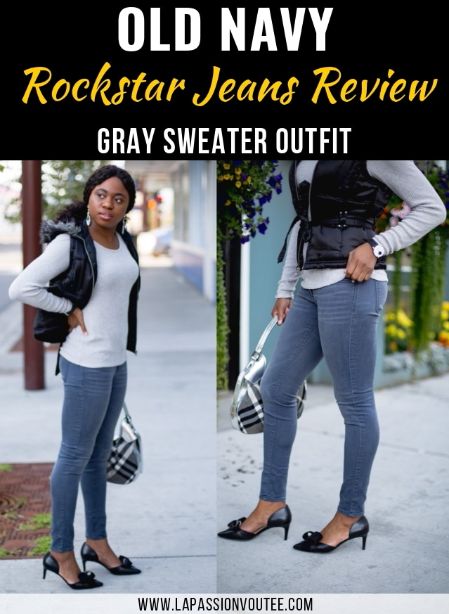 An honest review of Old Navy Rockstar jeans by someone who has owned one for a few years. And dishing it all on how to style a puffy vest with sweater for fall and still look cute and well-dressed. Alaska fashion blogger, Old Navy Rockstar jeans review, grey sweater outfit, cute fall outfit, New Jersey fashion blogger, kitten heels