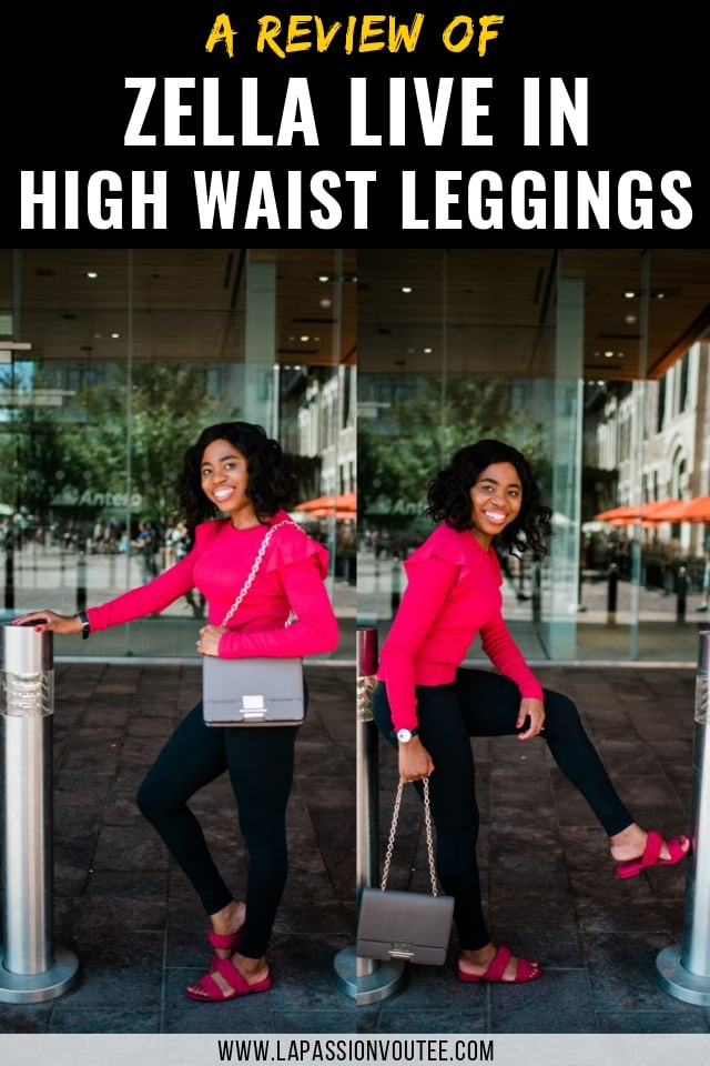 Zella Live in High Waist Leggings - A review of the best everyday leggings. Finally a pair of leggings that LIVES up to its promises. Zella Live In High Waist Leggings is the perfect comfortable, moisture-wicking, tummy-control, and opaque legging that does not break the bank. It's so versatile that you can wear it to work, to run errands and doubles up as the ultimate travel wear. Here's my review about what I like and dislike about this legging. This look is all about pink sweaters, Zella leggings, Alaska blogger, New Jersey fashion blogger, and black leggings.