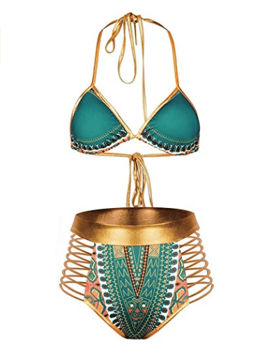 These bomb-ass African print swimsuits will make you wish you were heading to a tropical destination. And they're affordable too! Amaze everyone at the pool party, beach, and vacation rocking this Tribal Two-Piece Metallic Swimsuit by Zando.