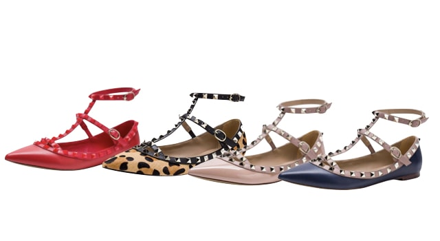 Valentino Rockstud Double ankle Strap Pointy Toe Flat Look-alike
