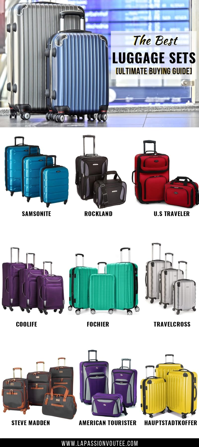A complete review of the best luggage sets of 2019. Everything from the best 2 piece luggage set, the best, 3 piece luggage sets and even the best carry on luggage set to get on Amazon. This luggage buying guide includes brands such as Samsonite, Rockland, U.S Traveler, Coolife, Dochier, Travelcross, Steve Madden, American Tourister, and Hauptstadtkoffer. Get the best cheap luggage sets without breaking the bank.